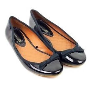 Zara patent leather ballet flats with bows